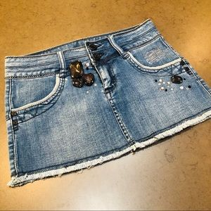 Bebe Jean Skirt with Rhinestone Embellishments